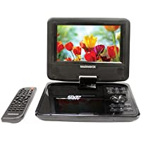 Magnavox 7 Portable DVD Player CD player With TFT Swivel Screen, Stereo Speakers, Rechargeable Battery, Car Adapter, Headphone Jack, Remote Control - Black