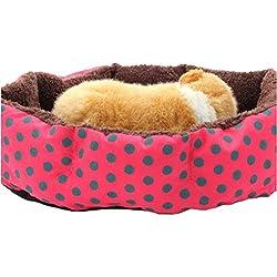 Krastal Dog Bed Red Color Dot Pattern Pet Bed Dog Puppy Cat Soft Cotton Fleece Warm Nest House Dog Mat