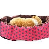 Pet Bed Dog Puppy Cat Soft Cotton Fleece Warm Nest House Mat Red Dot Pattern