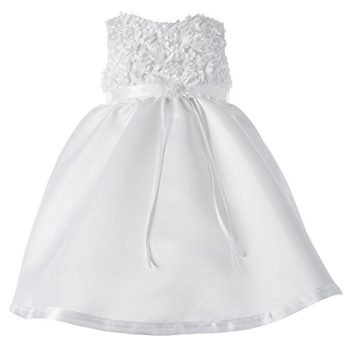 Haddad Brothers Baby-Girls Newborn Christening Baptism Special Occasion Sleeveless Satin Dress with Floral Bodice, White, 9-12 Months