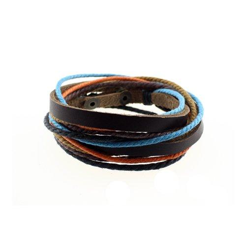 Wickelarmband Armband Lederarmband Surferarmband echtes Leder Heren Frauen Unisex Armschmuck Accessories Herrenarmband Damenarmband Unisexarmband Baumwolle Größen einstellbar, Orange-Blau