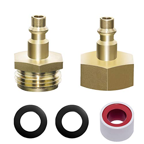 2 PCS Sprinkler Blowout Adapter for Winterize Sprinkler Systems, Air Compressor 1/4' Quick Connect Plug To GHT 3/4' Garden Hose Faucet Blow Out Adapter for RV Winterizing Kit, Camper, Boat, Motorhome