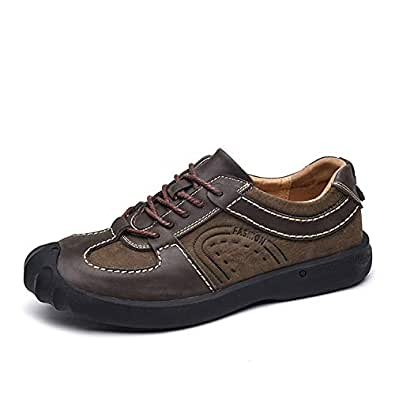 PANFU-AU Casual Athletic Shoes for Men Hiking Climbing Anti-Slip Flat Lace Up Collision Avoidance Round Toe Genuine Leather Outdoor Activities (Color : Coffee, Size : 5.5 UK)