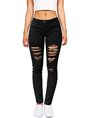 GRAPENT Women's Black Casual Destroyed Ripped Skinny Denim Jeans Pants With Holes XL(US 16-18)