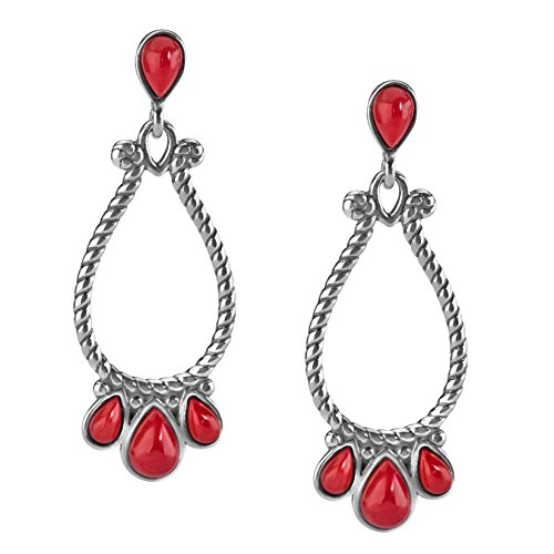 American West Sterling Silver Red Coral Gemstone Teardrop Chandelier Earrings