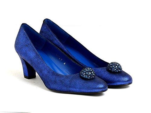 de corte cuero EYE mujer de metalizado y azul azul mujer para de detalle de plateado verde real dorado 113 con real Diamante y Zapatos F bronce en gamuza wfXx05Ixq
