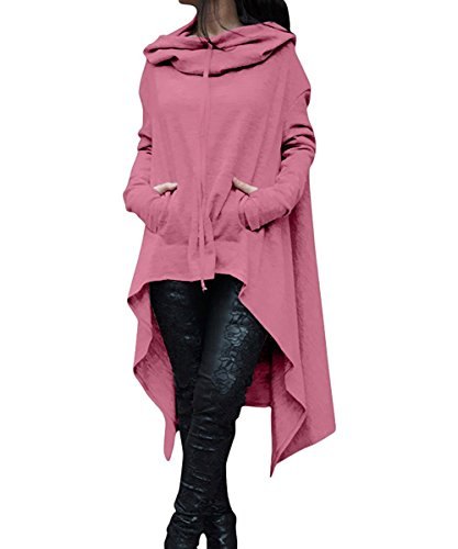 ThusFar Women's Loose Solid Color Pullover Hoodie Irregular