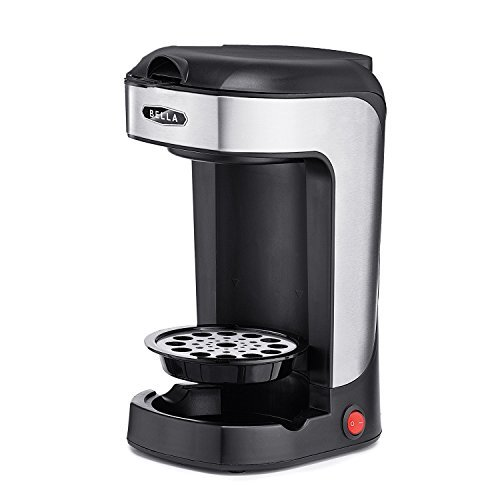 BELLA One Scoop Single Serve Personal Coffee and Tea Maker, color stainless steel and black by BELLA