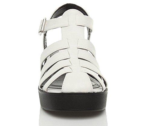 Femme Lanière Plateforme Talon Pointure Blanc Noire Large Sandals Semelle Gladiateur Spartiates HxqHrf6w