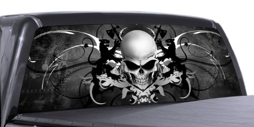 VuScapes - SKULL CREST - Rear Window Truck Graphic - decal suv view thru vinyl (Skull Decals For Trucks)