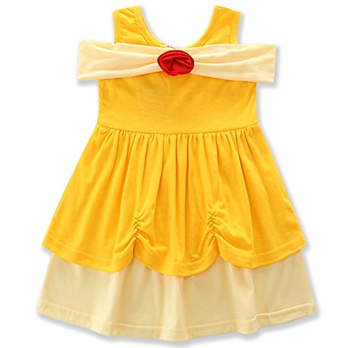 AmzBarley Girls' Belle Costume Party Dress up Clothes Flower Princess Dresses Yellow Size 6 by AmzBarley (Image #1)