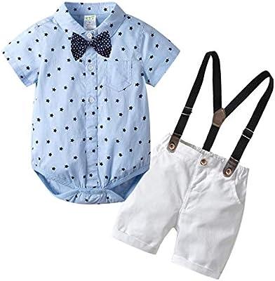 68a83be3c0e32 🌸Hot!!Toddler Kids Boys Gentleman Stars Bow Tops T-shirt Solid ...