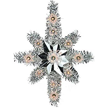 Amazon Com 6 Quot Lighted Silver Tinsel Star Christmas Tree