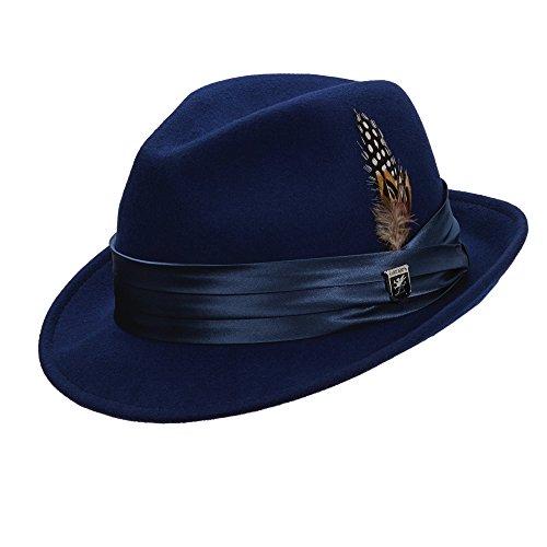 STACY ADAMS Men's 1 / Sa Crush Wool Felt Fedora Hat,Blue,L