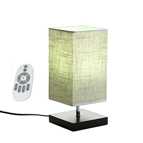 Babali LED Wood Bedside Lamp Remote Control CCT and Brightness Dimmable 5W LED Bulb Table Lamp Warm Nature Cool White Color Adjustable Minimalist Fabric Shade Nightstand Lamp for Bedroom Living Room - 32' High Table Lamp