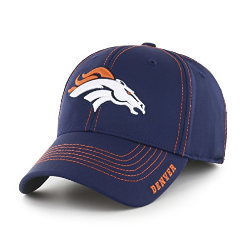 NFL Denver Broncos Adult Start Line Ots Center Stretch Fit Hat, Large/X-Large, Light Navy