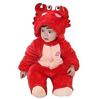 Baby Toddler Girls Boys Red Scorpio Crab Velour Onesie Snowsuit