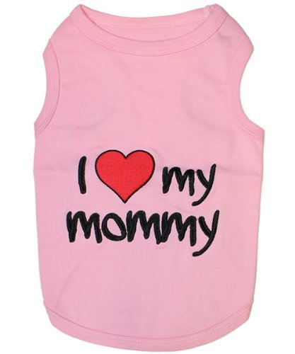I LOVE MY MOMMY PINK Embroidered Pet Dog Shirt (XXXXXL - 5XL)