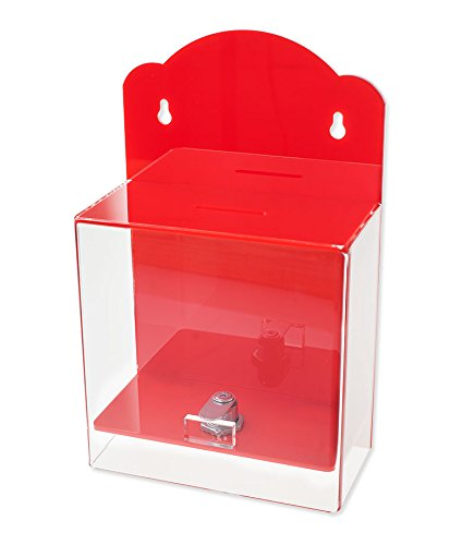 Source One Clear Face Donation Box Ticket Box Collection Box Counter Top or Wall Mount Use (Red)
