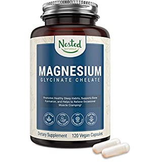 Magnesium Glycinate Chelate Supplement 200 mg | Non-Laxative High Absorption Vegan Capsules for Muscle Leg Cramps, Stress Relief, Sleep | 100% Chelated, TRACCS, Not Buffered Gluten Free Non GMO
