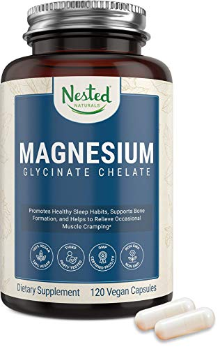 Nested Naturals – Magnesium Glycinate Chelate Supplement 200mg High Absorption Vegan Capsules for Muscle Leg Cramps…