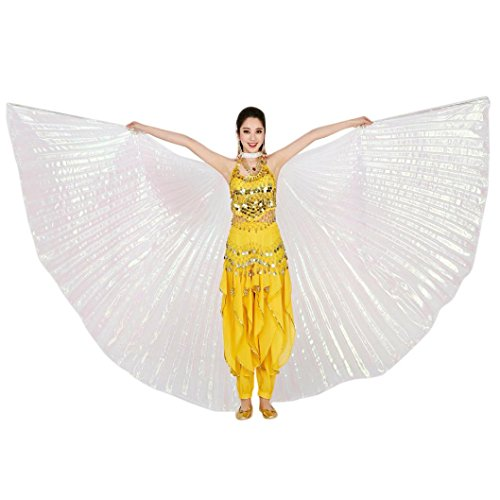 Fabal 1PC Egypt Belly Wings Dancing Costume Belly Dance Accessories No Sticks (Free Size, White) (Belly Dance Costumes Clearance)