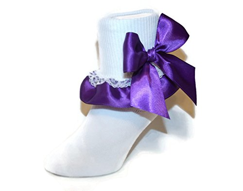 Ruffle Ankle Socks Satin & Lace Assorted Colors for Baby to Girls (3-4.5 Baby, Purple)