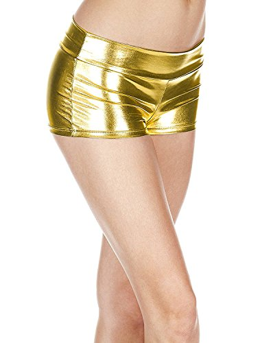 Secy Halloween Costumes (Women's Metallic Booty Shorts Liquid Wet Look Shiny Bottoms Hot Pants for Halloween Dancing Raves Costume)