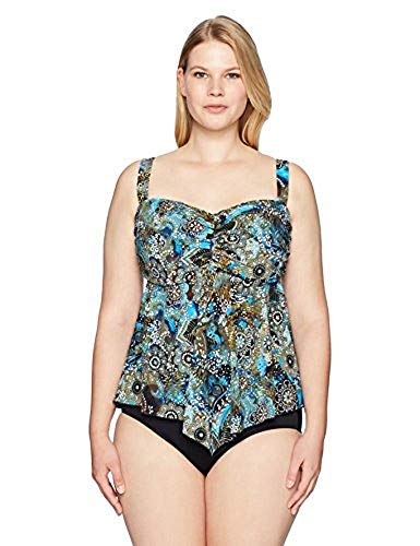 Bandeau Hem (Fit 4 U Women's Plus-Size Easy Living Ur D's & E V-Hem Bandeau Tankini, Blue, 18W)