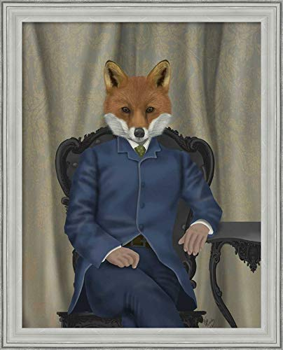 Framed Canvas Wall Art Print | Home Wall Decor Canvas Art | Fox Edwardian Gent, Portrtait by Fab Funky | Casual Decor | Stretched Canvas Prints