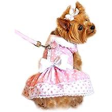 Pink Polka Dot and Lace Dog Harness Dress Set (Medium)