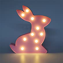 LED Night Lights Pink Rabbit Marquee Sign Table Lamp Starry Vision Creative Gift for Kids Bedroom Party Decorations