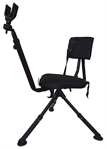 Benchmaster Ground Hunting & Shooting Chair - BMGBHSC - Ground Blind Chair with Rifle Rest - Full 360 Rotation - Quiet & Comfortable (Best Ground Blind Chair)