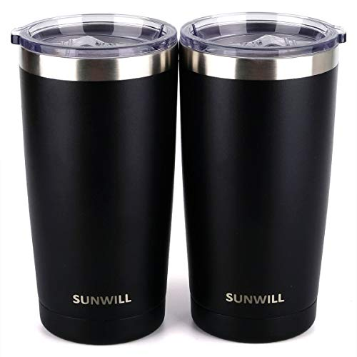 SUNWILL 20oz Tumbler with Lid (Powder Coated Black 2 pack), Stainless Steel Vacuum Insulated Double Wall Travel Tumbler, Durable Insulated Coffee Mug, Thermal Cup with Splash Proof Sliding Lid