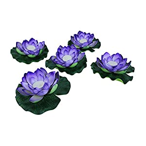 Just Artifacts 5pc Foam Lotus Floating Water Flower Candle (Color: Violet)