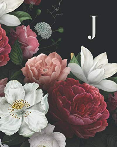 J: 110 Dot-Grid Pages | Beautiful Monogram Journal and Notebook with Vintage Roses and Peonies. Personalized Initial Letter | Monogramed Composition Notebook (Wedding Personalized Monograms)