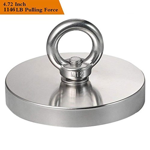 Wukong 1146LBS Pulling Force(520KG) Magnetic Grade N52 Round Neodymium Magnet with Eyebolt and Countersunk Hole Diameter 4.72INCH(120mm) Great for Magnetic Fishing-The Largest Magnet On Amazon. by Wukong