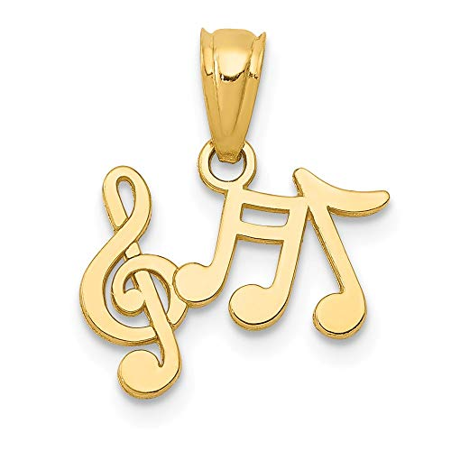 (14k Yellow Gold Music Notes Pendant Charm Necklace Musical Fine Jewelry Gifts For Women For Her)