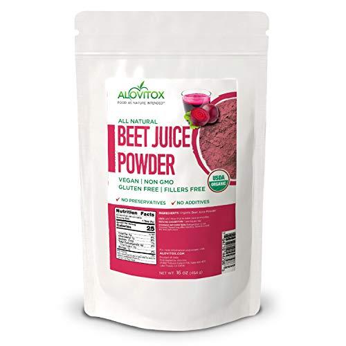 Alovitox Organic Beet Juice Powder, 16 oz – Raw, Vegan, Gluten Free Super Food Supplement   Naturally Pure Organic Nitric Oxide Boosting Beetroot Supplement. Keto, Paleo, Vegan Superfood Great For Hea