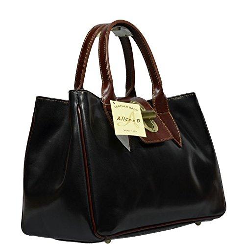 2621e8100afaa ... Schöne praktische Leder Schwarze Handtasche aus Leder Balda Nera Marrone  in der Hand