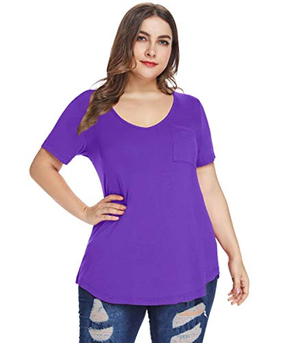 (MONNURO Womens Plus Size Shirts Casual V Neck Short Sleeve Tunic Top with Pocket(Deep Purple,5X))