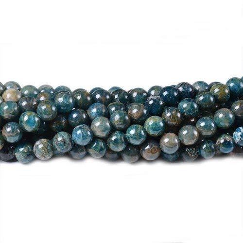 CB41561-2 Strand of 70 Teal Blue Apatite 5-6mm Plain Round Beads Charming Beads