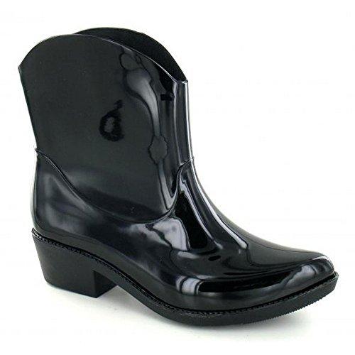 Punto En Mujer / Mujer Chunky Heel Cowgirl Style Wellies Negro