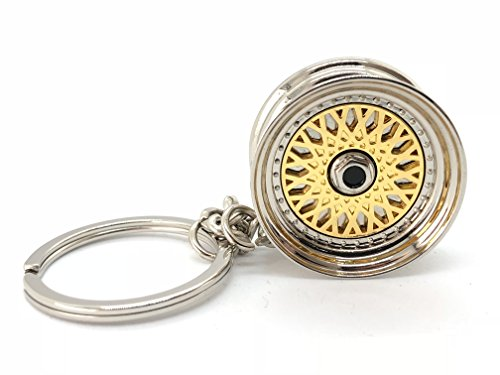 (GT//Rotors Gold BBS Wheel Keychain Automotive Automotive Part Car Gift Key Chain Ring)