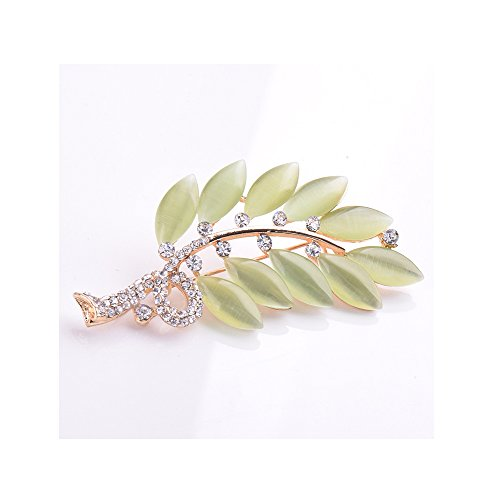 Winter's Covert the Four Seasons Theme Spring Opal Leaf Shape Brooch Vintage Style Deluxe Diamond Accented Corsage