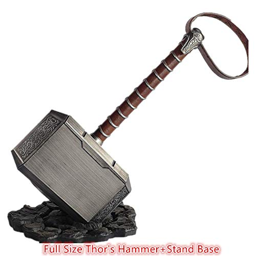 (POMUTRE 45cm 1:1 Thor's Hammer Kids Toys Thunder Hammer+ Stand Base ABS Plastics Cosplay Prop Collection Model Boys Birthdays Gifts)