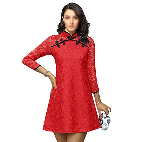 EDITHA Women Mini Lace Cheongsam Pure A-line Fitted Dress Vintage Chinese Style Wedding Dress Red L/US 12 ...