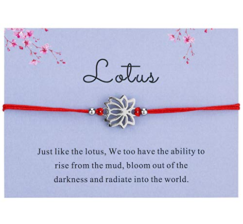 Bowisheet Dainty Lotus Bracelet Handmade Red Cord Ajustable Bracelet with Message Wishes Gift for Women