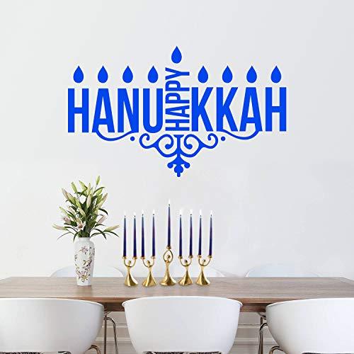 (Vinyl Wall Art Decal - Happy Hanukkah Candles - 23