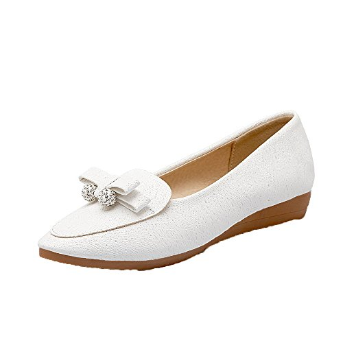 Odomolor Women's PU Pull-On Round-Toe Low-Heels Solid Pumps-Shoes, White, 37